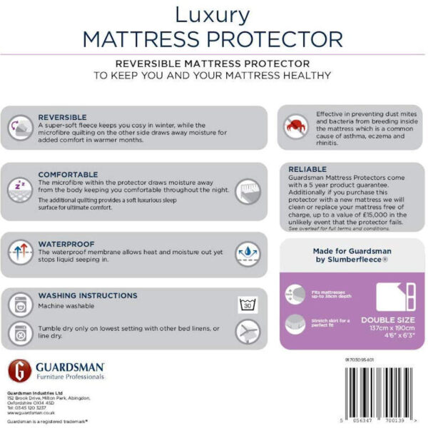 rear label for luxury mattress protector